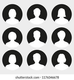 Male and female head silhouettes avatar, profile icons.