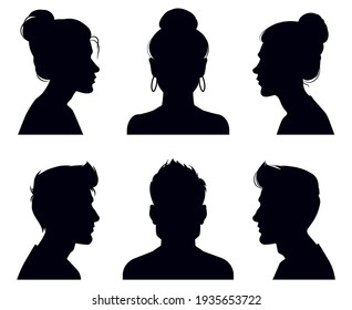 Male and female head silhouettes. People profile and full face portraits, anonymous shadow portraits  illustration set. Adult people face silhouettes