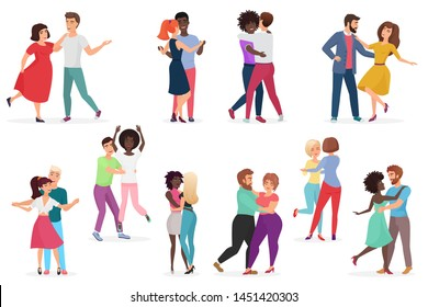 Male and female pairs of dancers. Men and women couple performing dance at school, studio. Group of young happy dancing people. People dance party illustration.