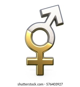Male and female sign. 3D render illustration isolated on white background