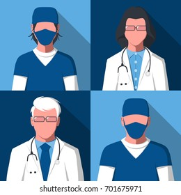 Male and female silhouettes of medical workers for user profile picture. Avatars of doctors and nurses. Hospital staff in flat style. Raster illustration.