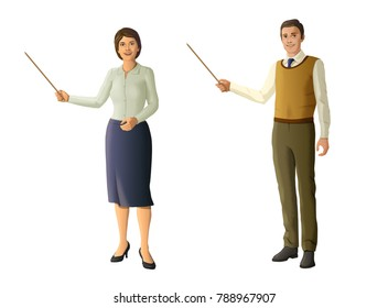 Male and female teacher. Digital illustration with clipping path included.
