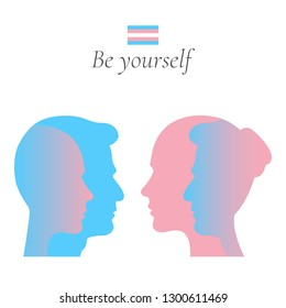 Male to female and female to male transgender or transsexual with a flag