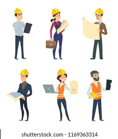 Male and female workers of engineers and other technician professions. Engineer male and female, engineering profession. illustration