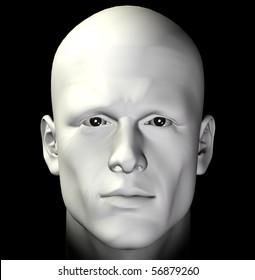Male figure portrait on black background. Digitally created 3d illustration.
