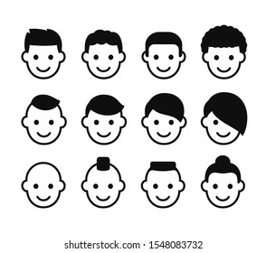 Male haircuts icon set. Simple man face symbols with different hair styles. Stylized head avatars illustration collection.