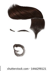 Male hairstyle and beard name is Undercut Fade. The undercut fade is very similar to a high fade haircut . Suitable for interior decoration, barber shop pictures Or applications.