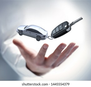 Male hand with car keys - 3D illustration