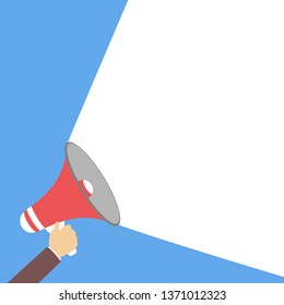 Male hand holding megaphone. Public announcement and business promotion. Isolated flat  illustration