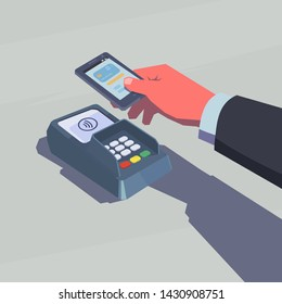 Male hand holding mobile phone. NFC technology. Retro style illustration.