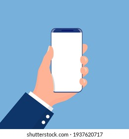 Male hand holding phone. for your web sites, applications, web design. Business style. illustration in flat style