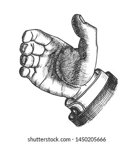 Male Hand Make Gesture Palm Finger Doodle . Man Showing Gesture Sign Like Holding Glass Water Or Cup Container With Beverage. Forefinger Middle Annulary And Pinkie Pressed To Palm Illustration