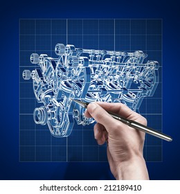 male hand with pen blueprint . engineer working on blue print concept V8 Car engine Cad