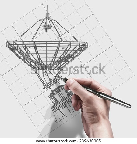male hand with pen. engineer working on cad concept Satellite dishes antenna - Doppler radar.