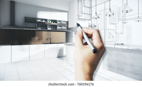 Male hands drawing abstract unfinished kitchen interior sketch. Architecture and project concept. 3D Rendering