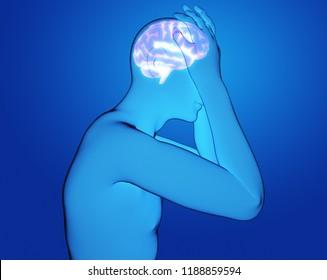 male having a headache 3d rendering illustration