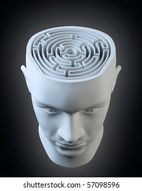 Male head with a labyrinth inside
