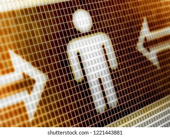 Male icon in the screen. 3D Illustration.