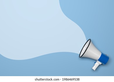 Male messages and marketing communication concept represented by megaphone and blue color. Marketing communication focused on man, 3D render.
