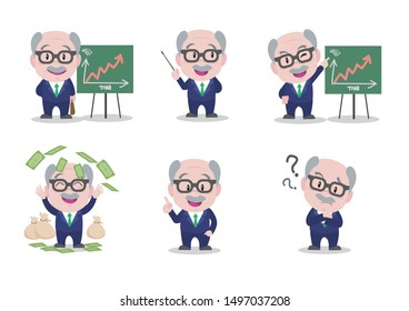 Male old businessman character constructor for different poses.