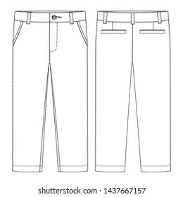 Male pants. KIds trousers design template. Front and back view. Technical sketch of casual pants. illustration