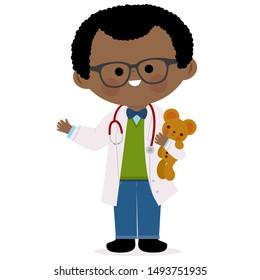 Male pediatrician doctor holding a teddy bear.