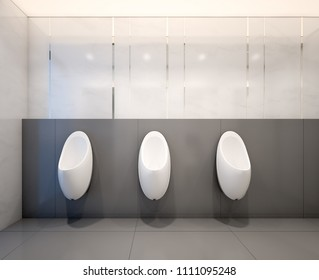 Male public toilet with urinals , 3d Rendering
