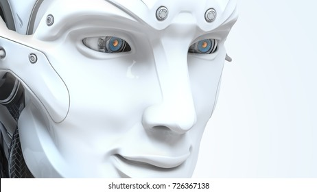 Male robot face on dark digital background. Artificial intelligence in virtual reality. Bot head conceptual design closeup portrait. 3d render