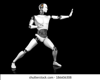 A male robot standing in a fighting karate pose. Black background.