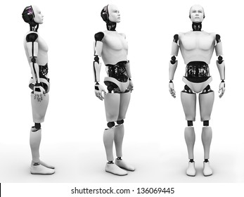 Male robot standing, a view of it from three different angles. White background.