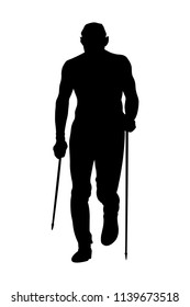 male runner skyrunner with trekking poles running uphill