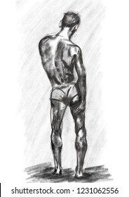 Male sketch which was done in digital, imitation pf pencil drawing, male figure