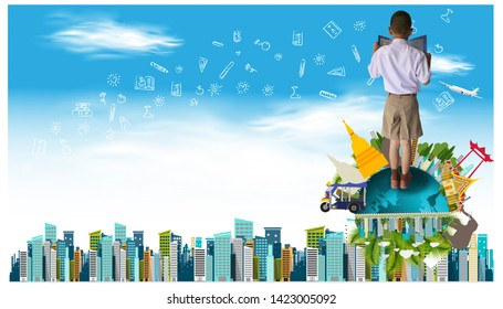 male student thailand  reading book - airplane, Cloud ,World, Building in the city,  pagoda,elephant,icon-  Creativity modern Idea and Concept.