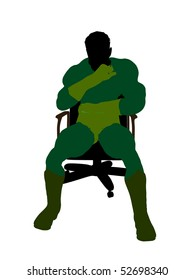 Male super hero sitting on a chair silhouette dressed in shorts on a white background