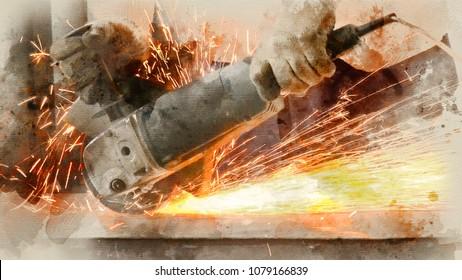 Male Worker Sawing Grinder Metal . Watercolor background