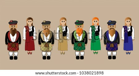 8f17cc2e963d Males Females Traditional Scottish Highland Dress Stock Illustration ...