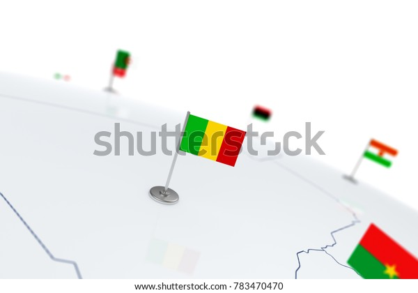 Mali flag. Country flag with chrome flagpole on the world map with neighbors countries borders. 3d illustration rendering flag