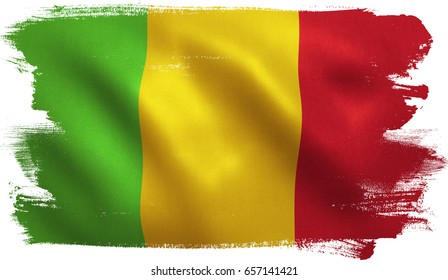 Mali flag with fabric texture. 3D illustration.