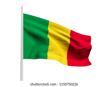 Mali flag floating in the wind with a White sky background. 3D illustration.