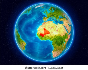 Mali in red from Earth's orbit. 3D illustration. Elements of this image furnished by NASA.