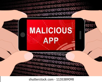 Malicious App Spyware Threat Warning 3d Illustration Shows Infected Computer Alert Scam And Virus Vulnerability