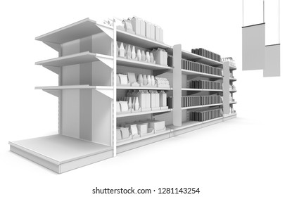 Mall Set Of Shelves With Product. View From Perspective. 3D rendering