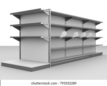 mall shelf with wobbler or shelf-stopper template mock-up for customization. 3D rendering