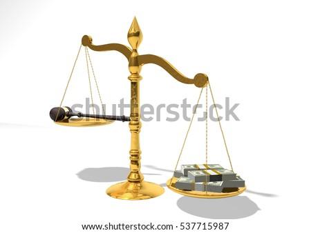 Balance Justice mallet money on balance justice money stock illustration 537715987