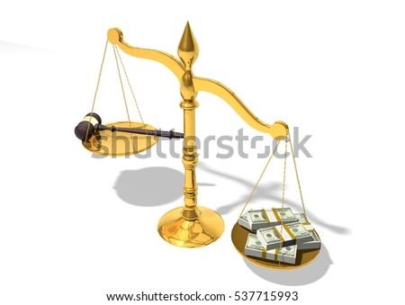 Balance Justice mallet money on balance justice money stock illustration - royalty