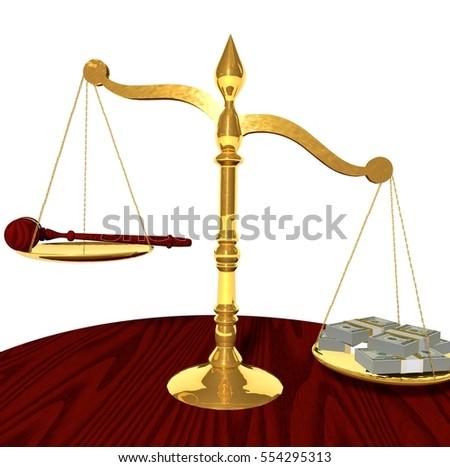 Balance Justice mallet money on balance justice over stock illustration 554295313