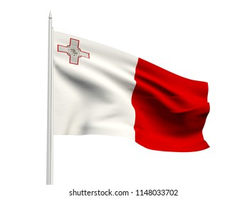 Malta flag floating in the wind with a White sky background. 3D illustration.