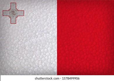 malta flag overlaid with styrofoam texture
