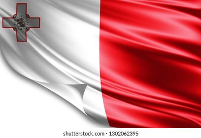 Malta flag of silk-3D illustration