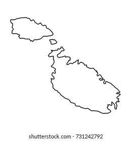 Malta map of black contour curves of illustration. Raster copy.